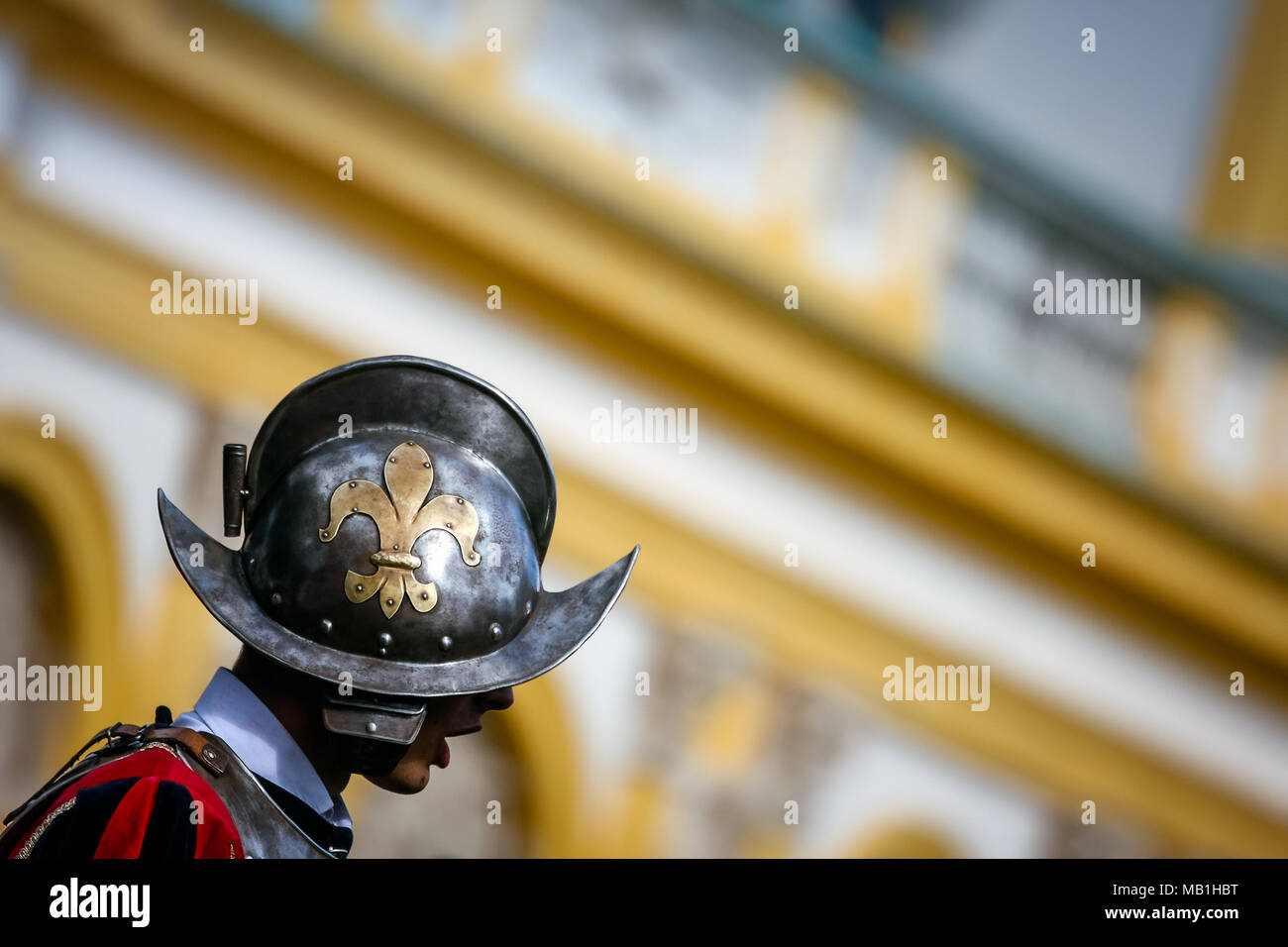 Royal guard wearing a helmet with the Fleur de Lis sign, at Wilanow Royal Palace Days of Wilanow. WARSAW, POLAND - SEPTEMBER 13, 2009 Stock Photo