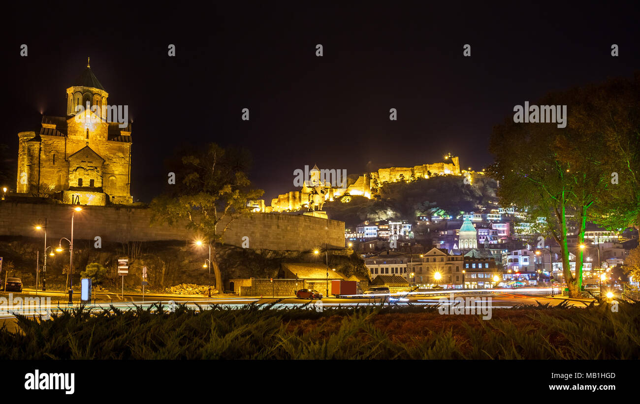 Night View Of The Metekhi Church, The Equestrian Statue Of King Vakhtang Gorgasali and fortress Narikala In Old Historic District Of Tbilisi Georgia. Stock Photo
