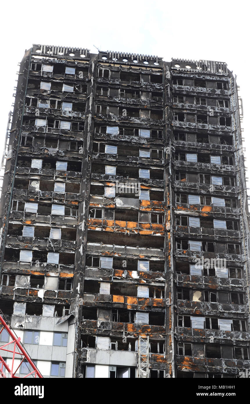 Grenfell tower, destroyed by fire,  Reynobond PE - Stock Image