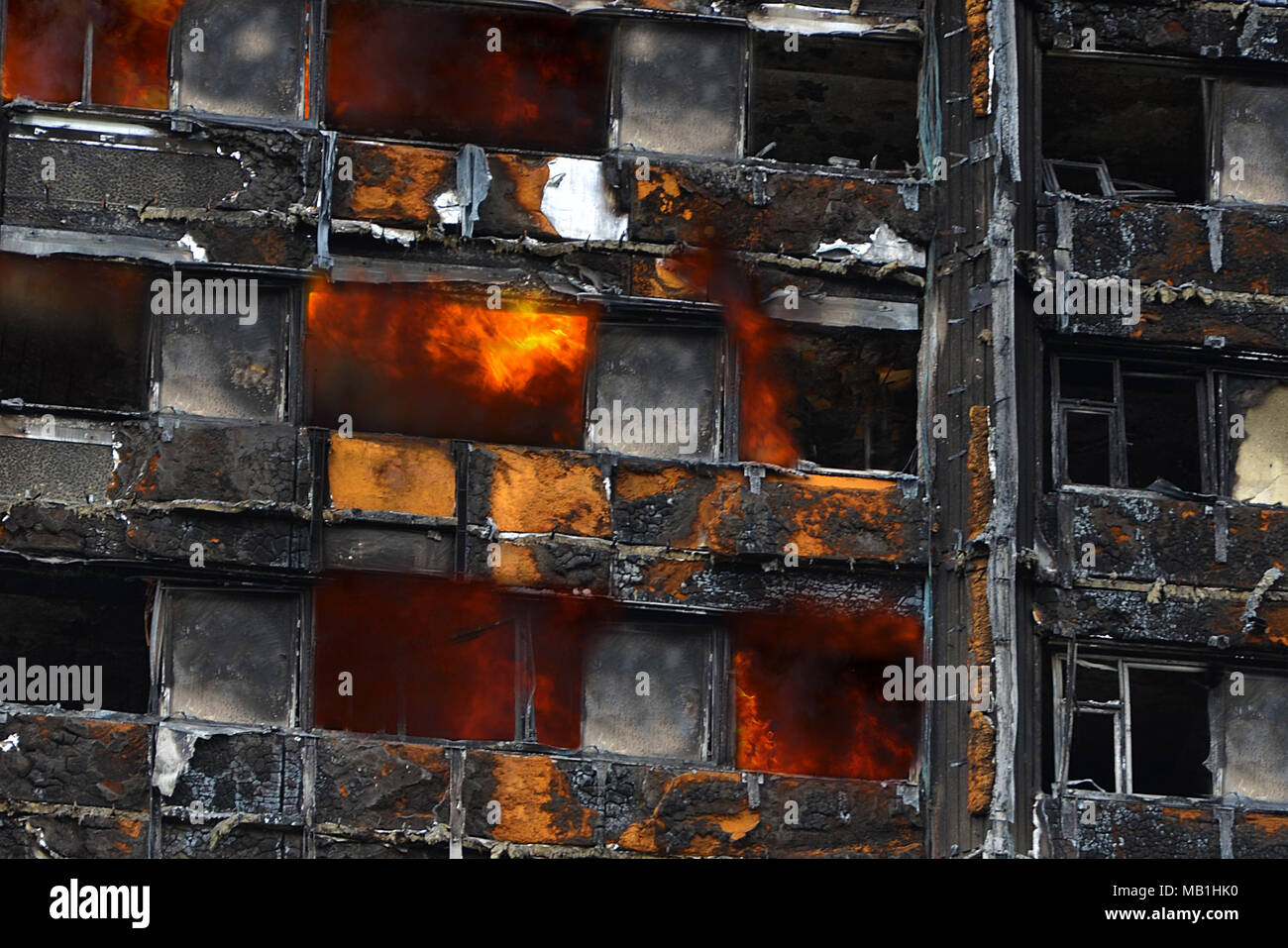 Grenfell tower, fire and flames. Reynobond PE - Stock Image
