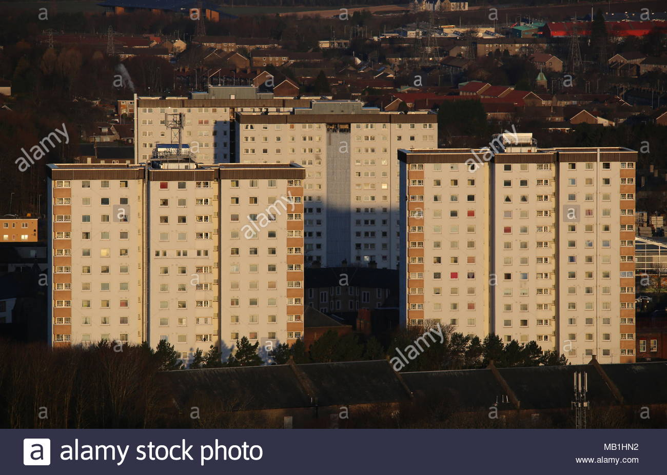 Elevated view of council housing Lochee Dundee Scotland  March 2018 - Stock Image