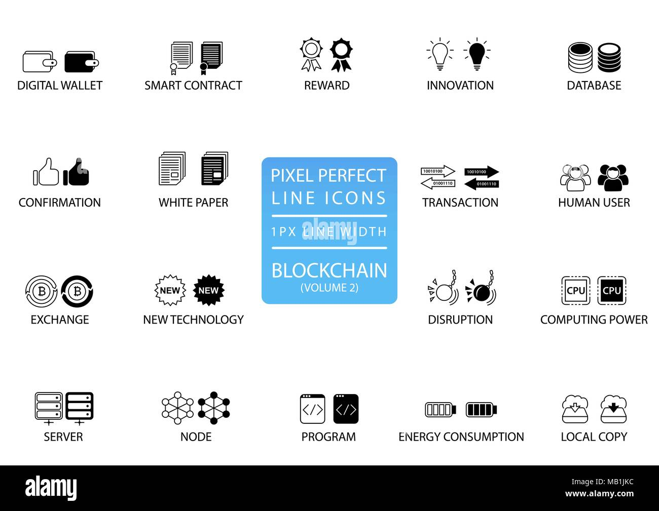 Blockchain and cryptocurrency thin line vector icon set. Pixel perfect icons with 1 px line width for optimal app and web usage - Stock Image