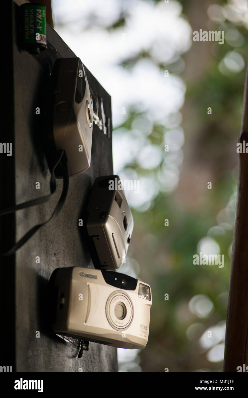 close-up classic/old SLR camera film - Stock Image