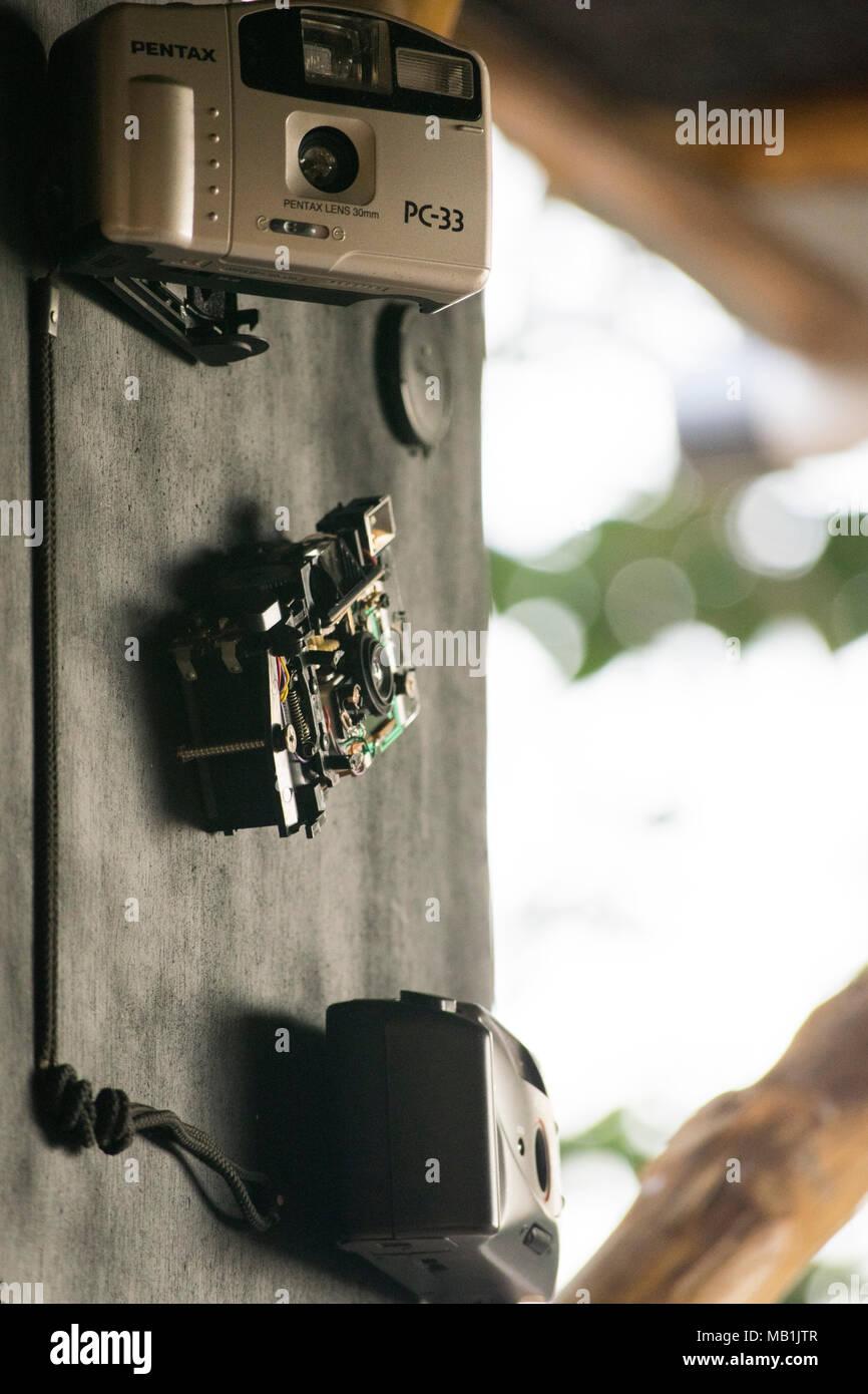 close-up classic/old SLR camera film - Stock Image