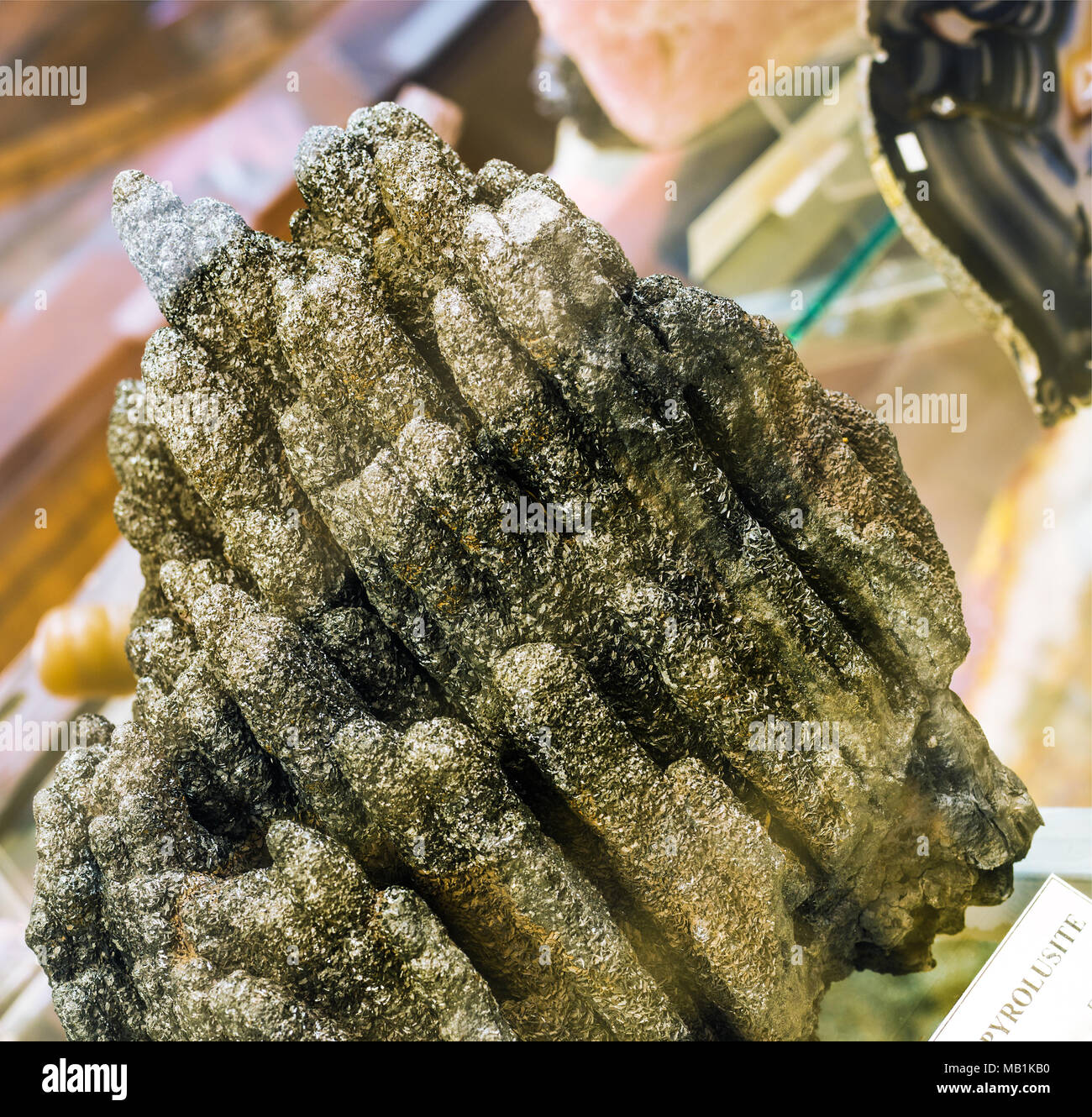 pyrolusite in mineralogy museum - Stock Image