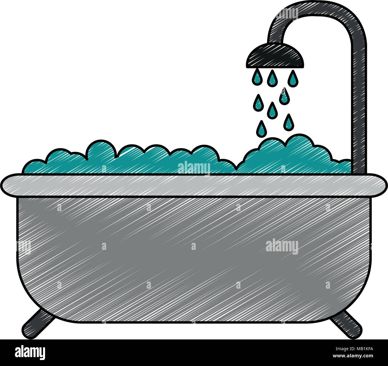 Tub with shower isolated scribble - Stock Image