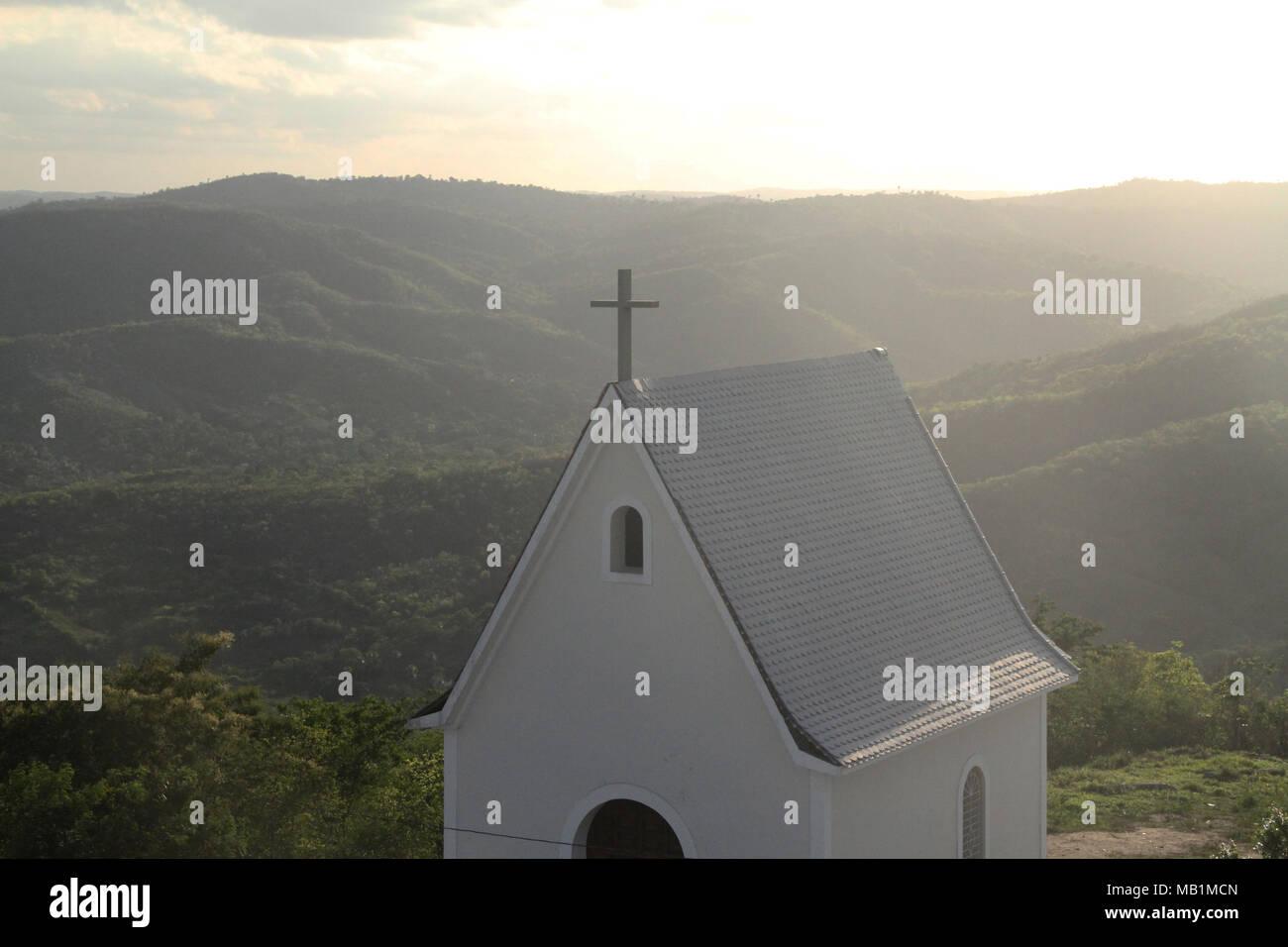 Chapel, Religious, Aerial view, Guarabira, Paraiba, Brazil Stock Photo