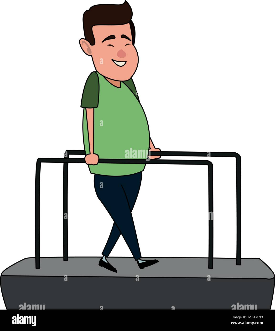 patient on walk therapy cartoon - Stock Image