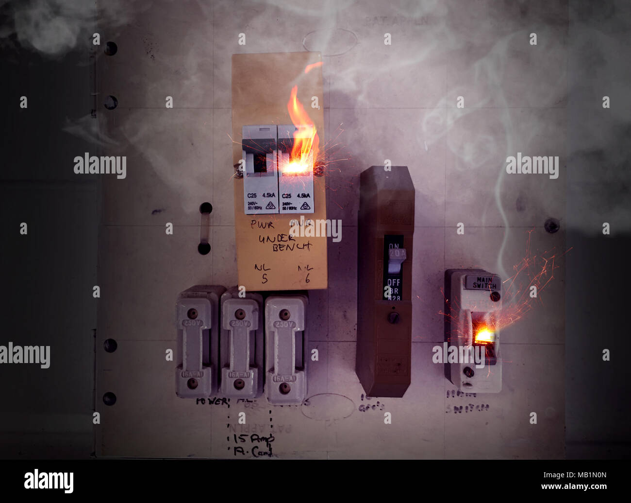 Electrical Fire Stock Photos Images Alamy 07 Jk Fuse Box Sparks And Flames Coming From An Old Switch Causing A Image
