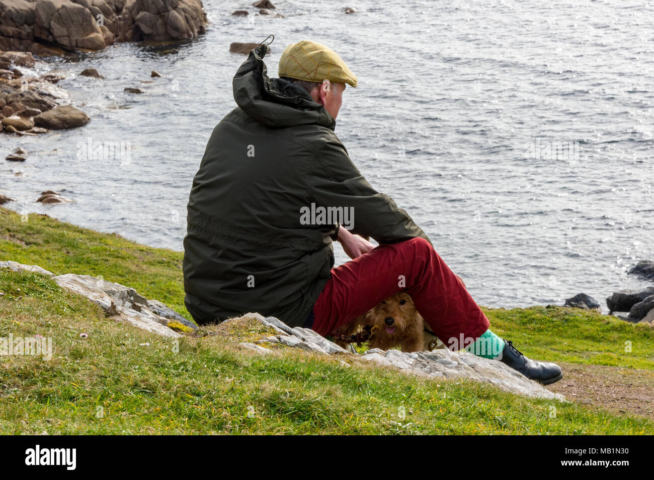 a man dressed in a flat cap and winter jacket sitting on the top of the cliffs with a small terrier dog looking out to see. Thinking walking the dog. - Stock Image