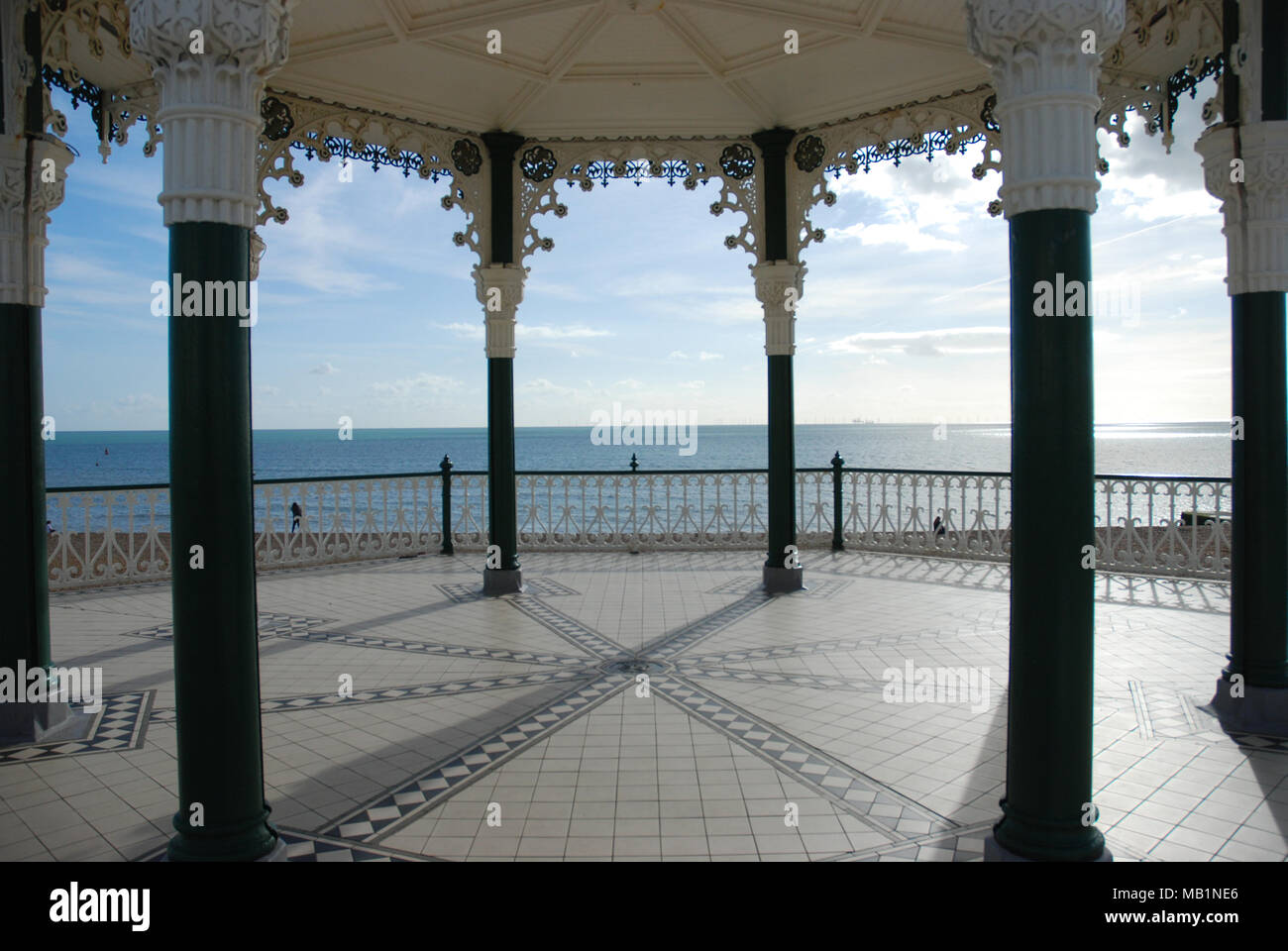 The view of the sea from the Brighton Bandstand - Stock Image