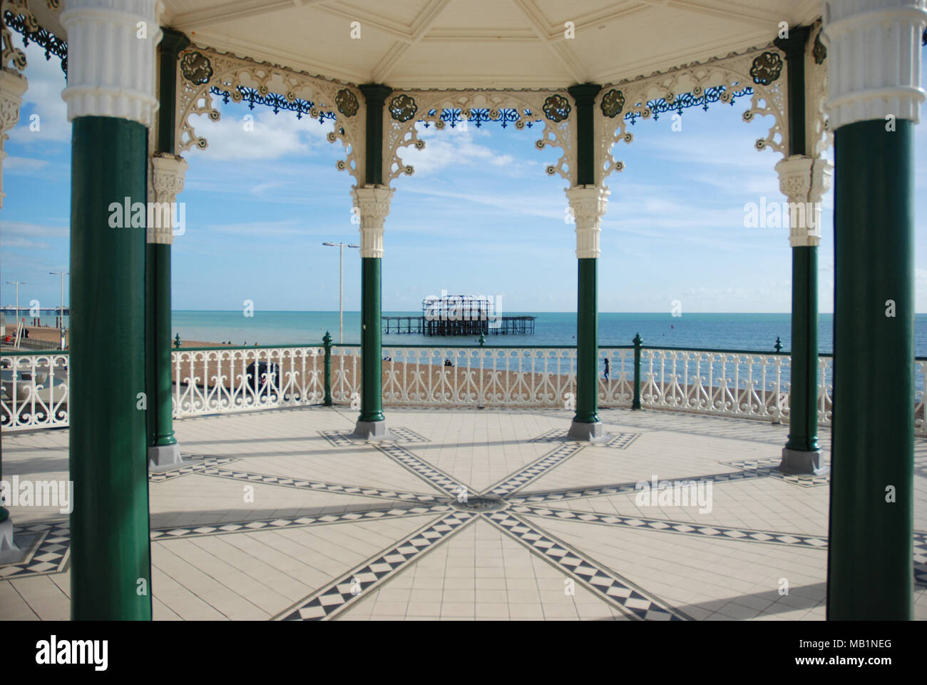 view of the West Pier from The Bandstand on Brighton seafront - Stock Image