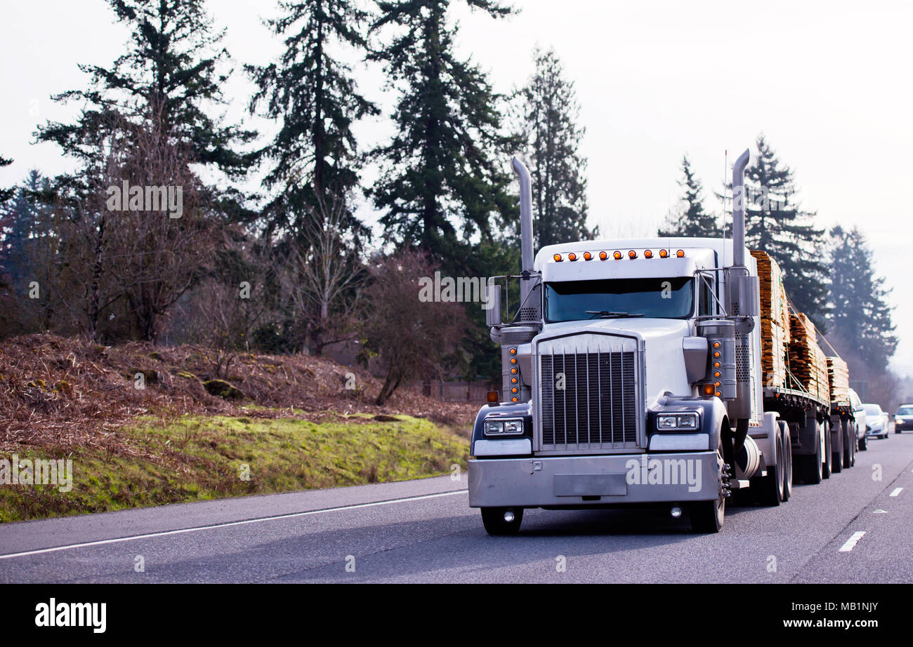 Big Rig Classic Powerful Semi Truck With Tall Pipes And