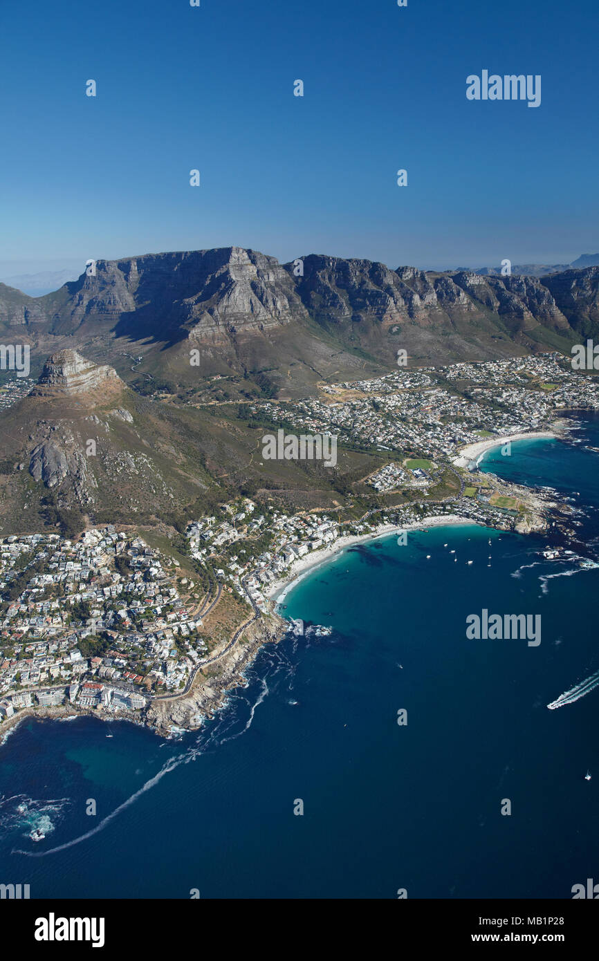 Clifton Beach (closest) and Camps Bay (far right), Table Mountain, and The Twelve Apostles, Cape Town, South Africa - aerial - Stock Image