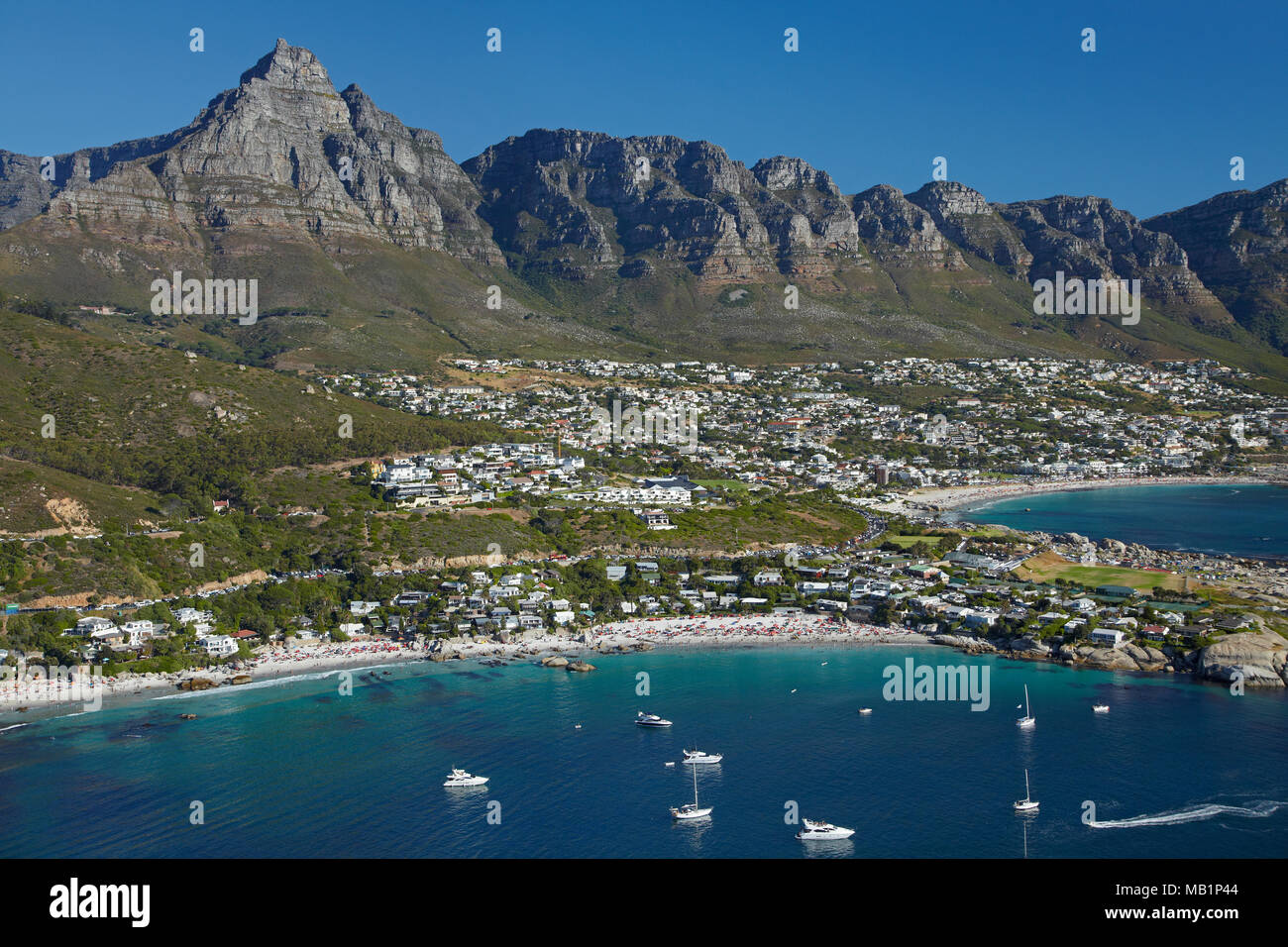 Clifton Beach,  Table Mountain, and The Twelve Apostles, Cape Town, South Africa - aerial - Stock Image