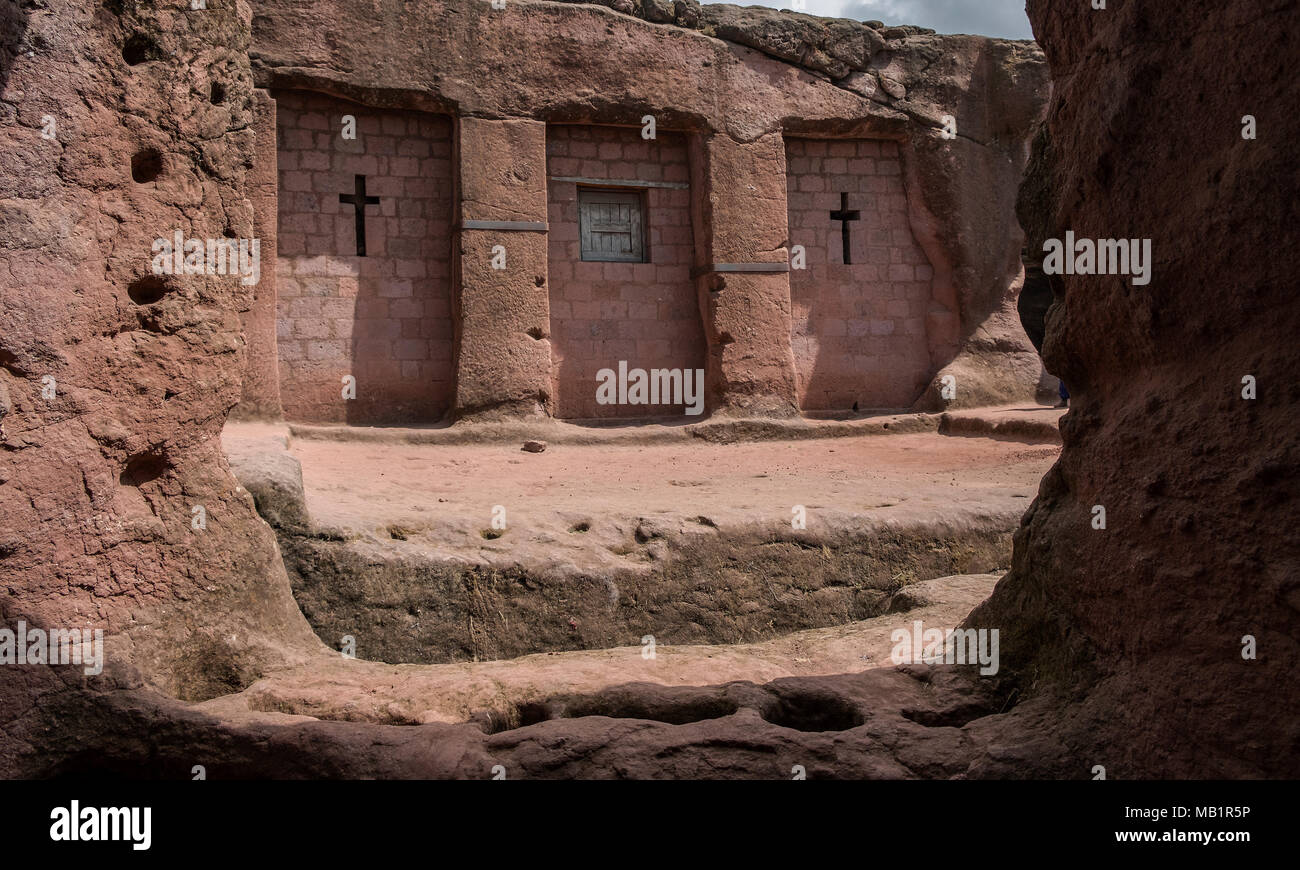Bet Merkorios, one of the churches excavated in the rock of Lalibela. Ethiopia. - Stock Image