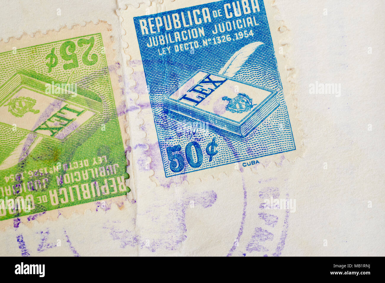 Antique cuban stamps with postmarks. Vintage historic philately. Postal. Hobby - Stock Image