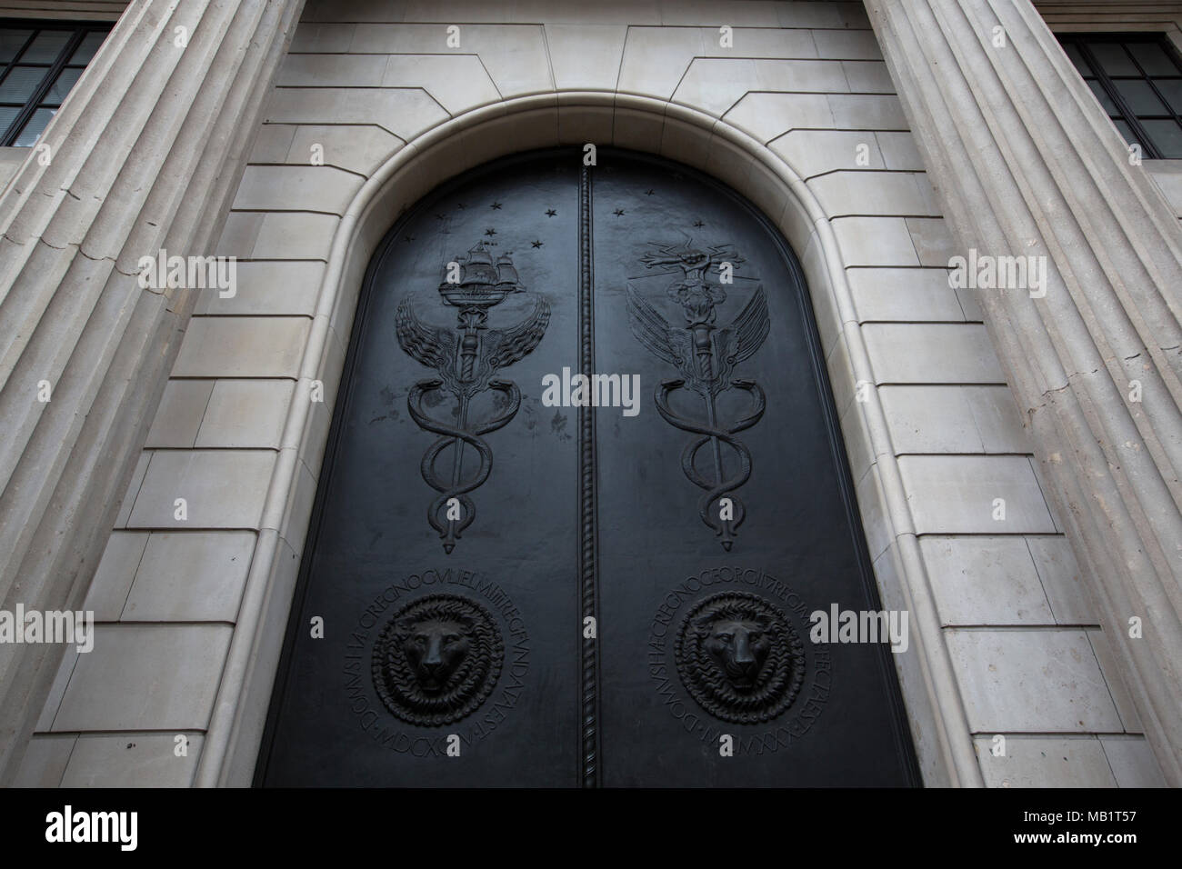 Bank of England doors, Threadneedle Street, the anti-terrorist doors made in Wales by engineering firm Cyrus-RW Group and Rhino Doors, City of London - Stock Image