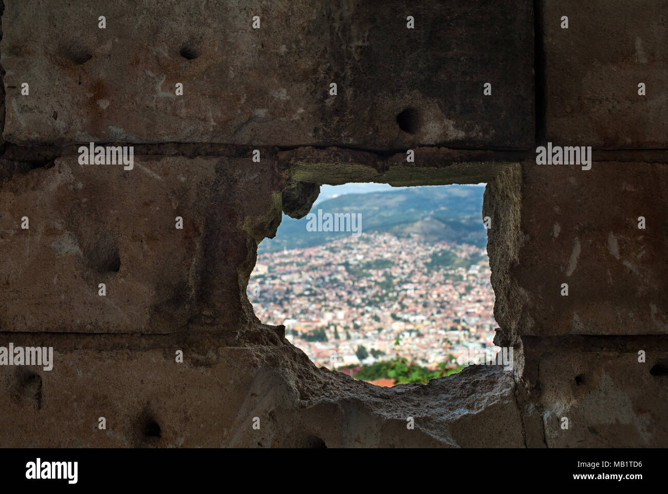 Panoramic View Of The Sarajevo City From Inside Of An Abandoned Destroyed Building By War, Capital Of Bosnia And Herzegovina In Balkan Eastern Europe - Stock Image