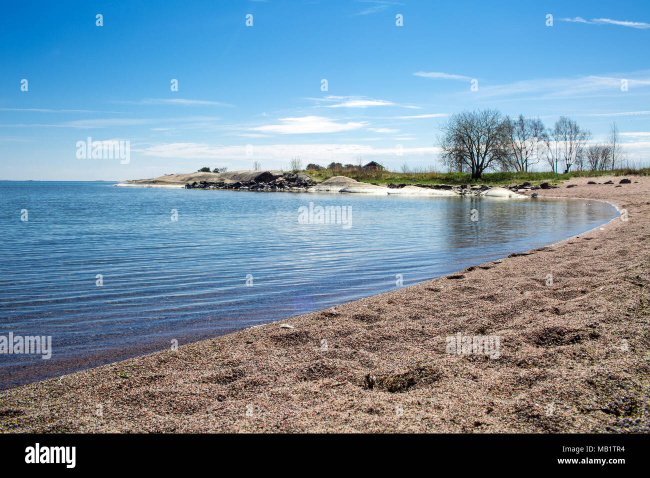 Finland,Hanko Early Summer. Scenic view of Baltic sea, and blue sky. Peaceful Finnish landscape. - Stock Image