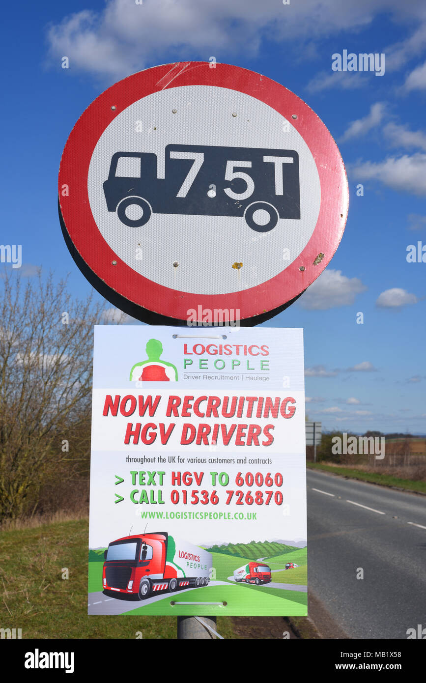 roadside recruitment advert for hgv lorry drivers leeds united kingdom - Stock Image