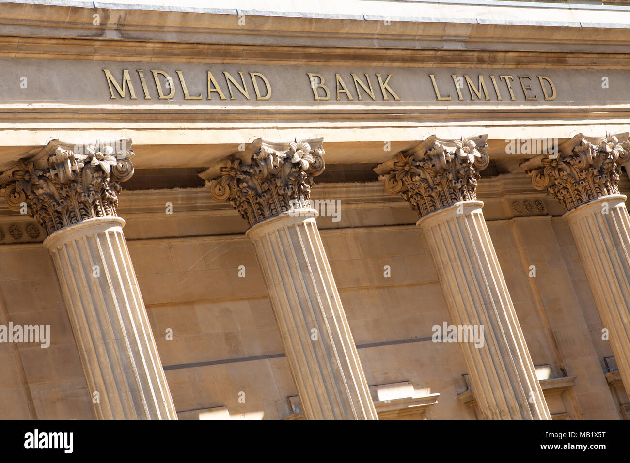 Detail from The Midland Bank Building situated on Waterloo Street in Birmingham City Centre - Stock Image