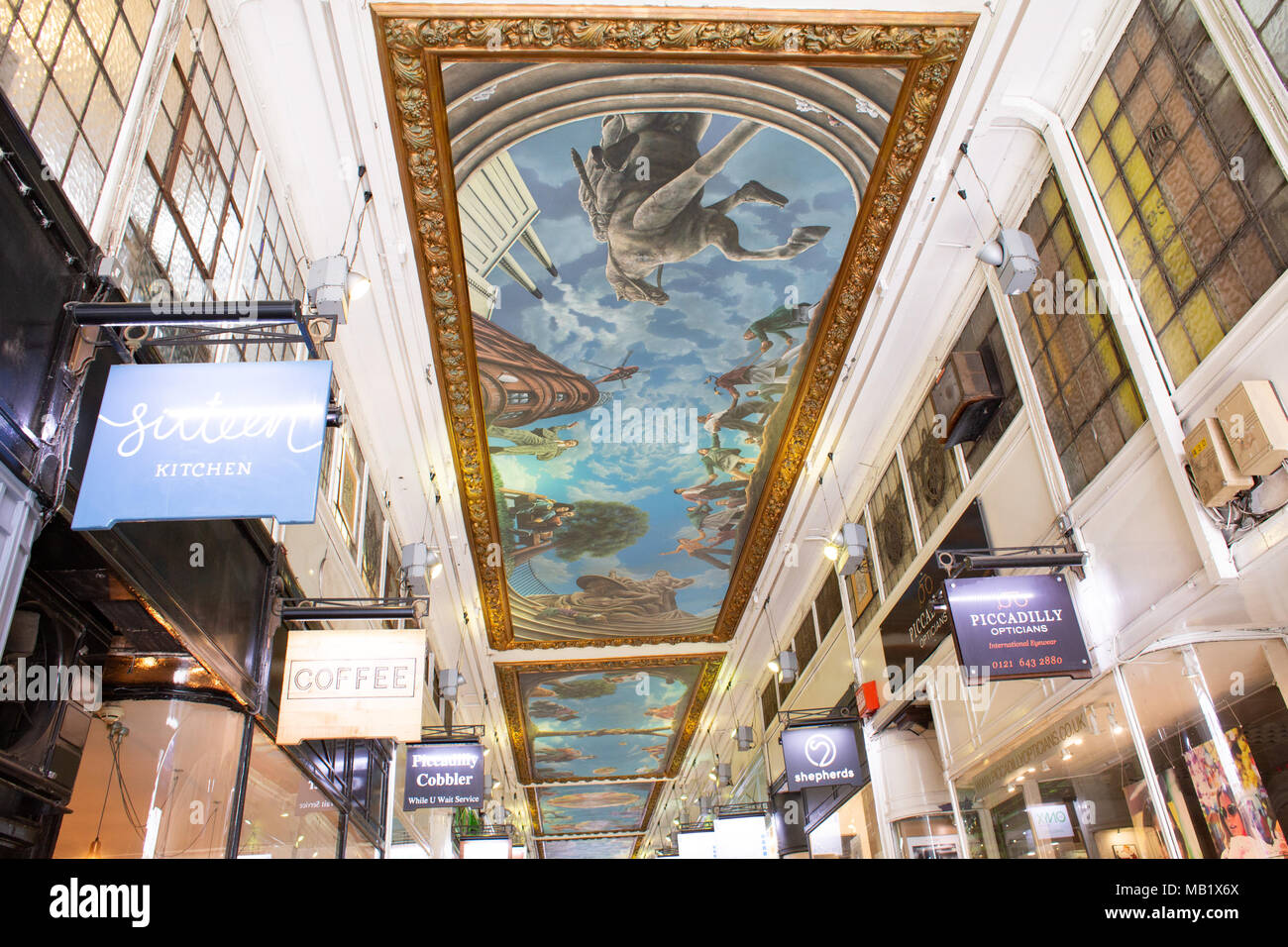 Painted murals by artist Paul Maxfield in Piccadilly arcade ceiling, New Street, Birmingham, UK - Stock Image