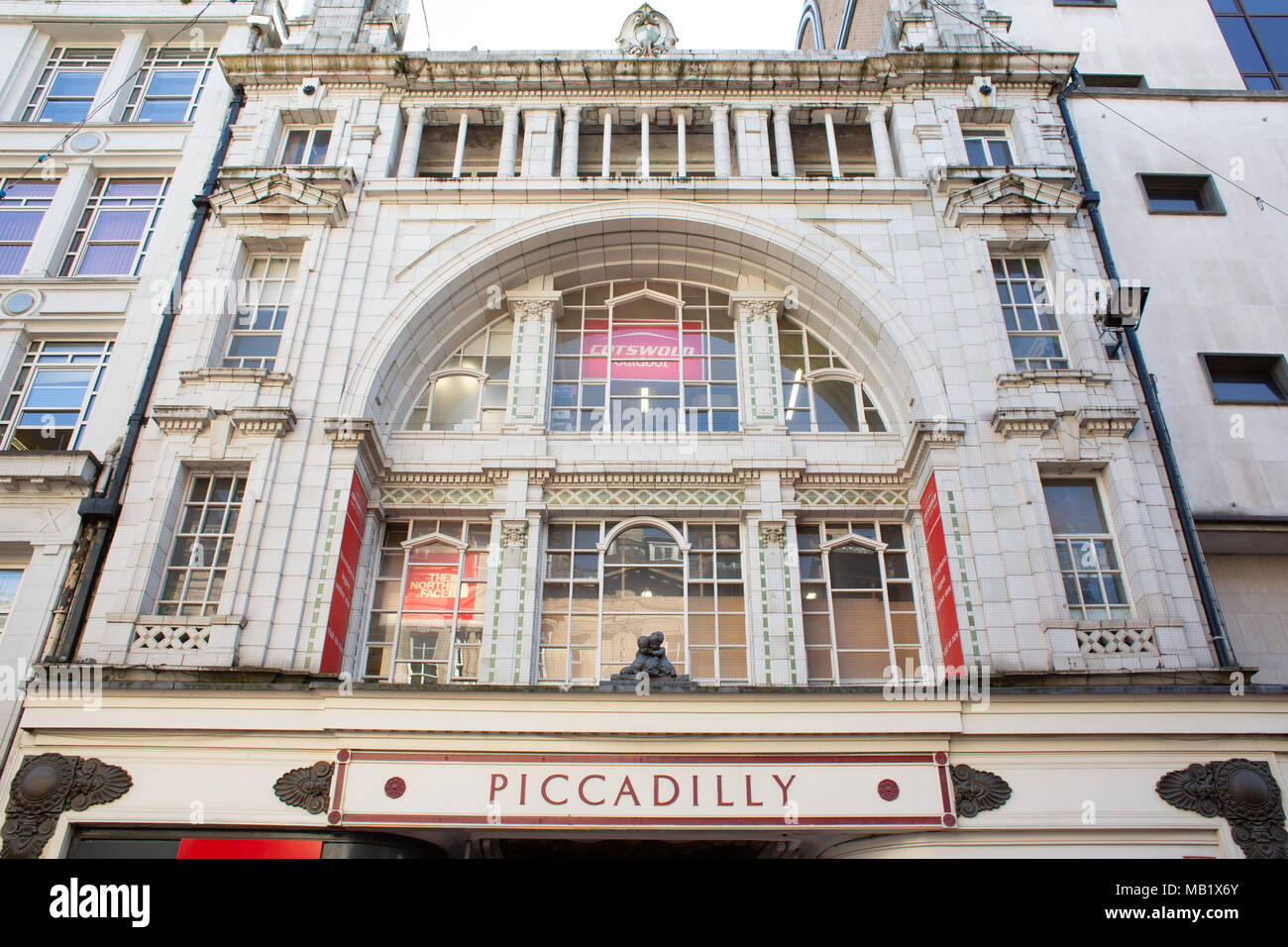 The frontage of Piccadilly arcade on New Street, Birmingham, UK - Stock Image