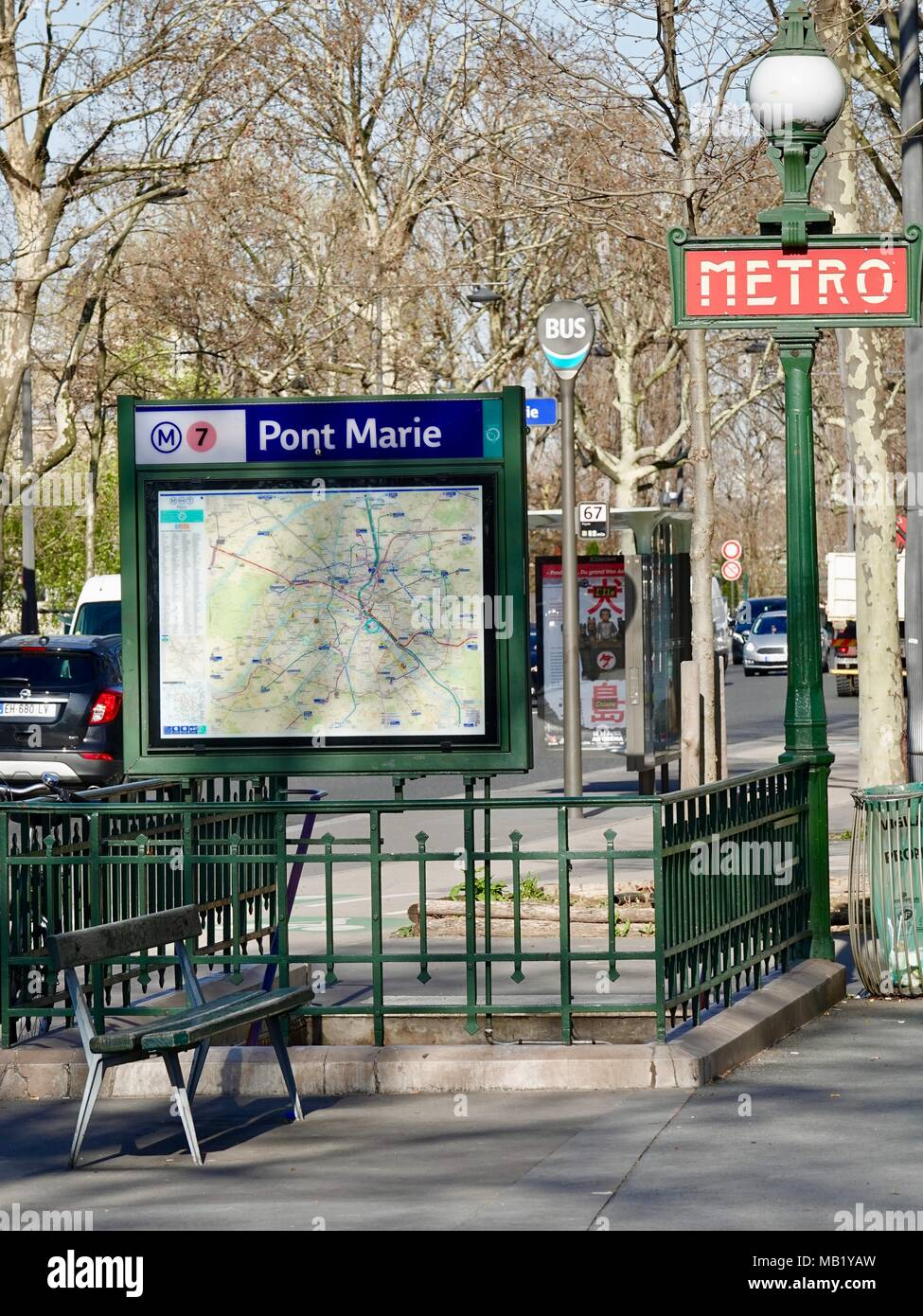 Pont Marie Métro entrance with Metro sign and transportation map. Paris, France - Stock Image