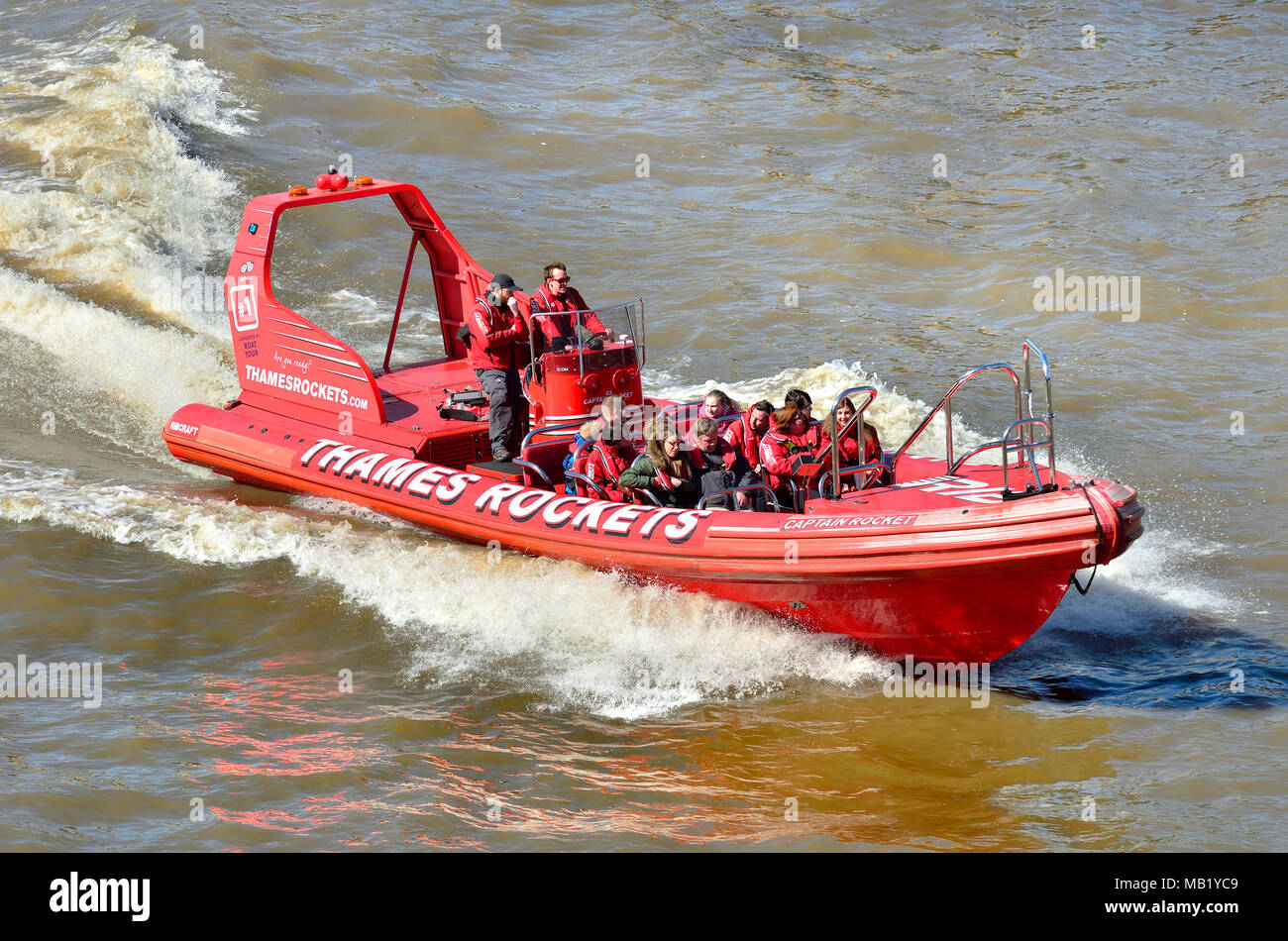 London, England, UK. 'Thames Rockets' speedboat 'Captain Rocket' high speed Thames tour - Stock Image