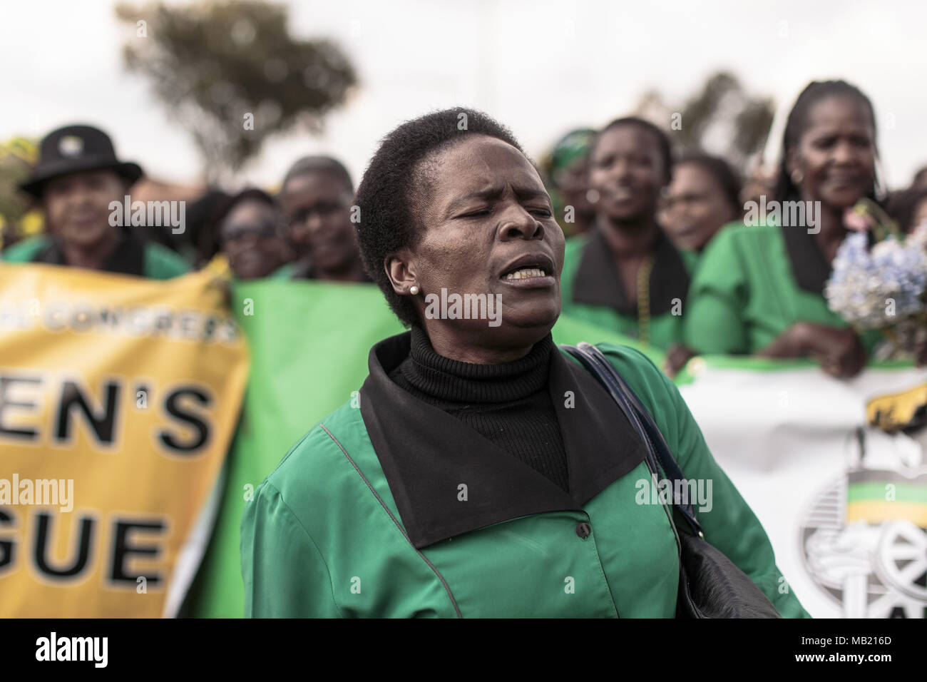 April 4 2018 Johannesburg Sowet Gauteng South Africa Wiring A House In Members Of The Anc Womens League March And Lay Down Flowers At Winnie Mandelas