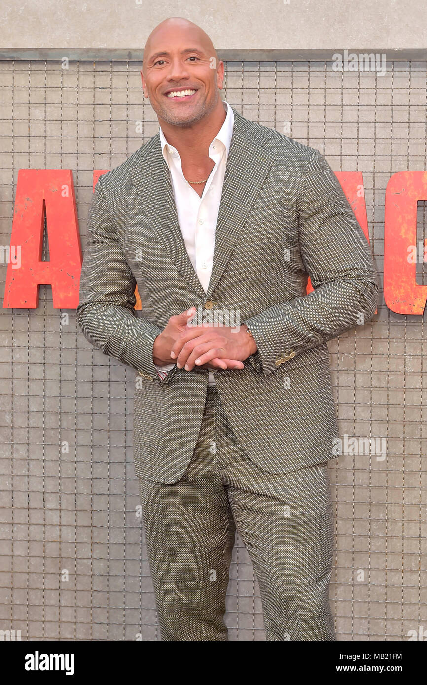 Dwayne Johnson attending the 'Rampage - Big meets Bigger' World premiere at the Microsoft Theater on April 4, 2018 in Los Angeles, California. - Stock Image