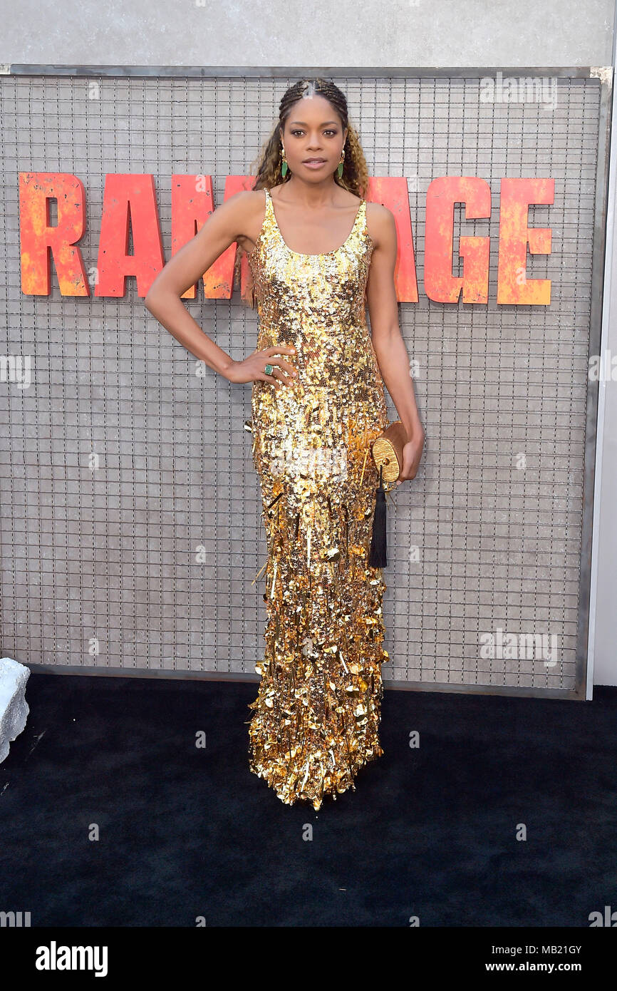 Naomie Harris attending the 'Rampage - Big meets Bigger' World premiere at the Microsoft Theater on April 4, 2018 in Los Angeles, California. - Stock Image