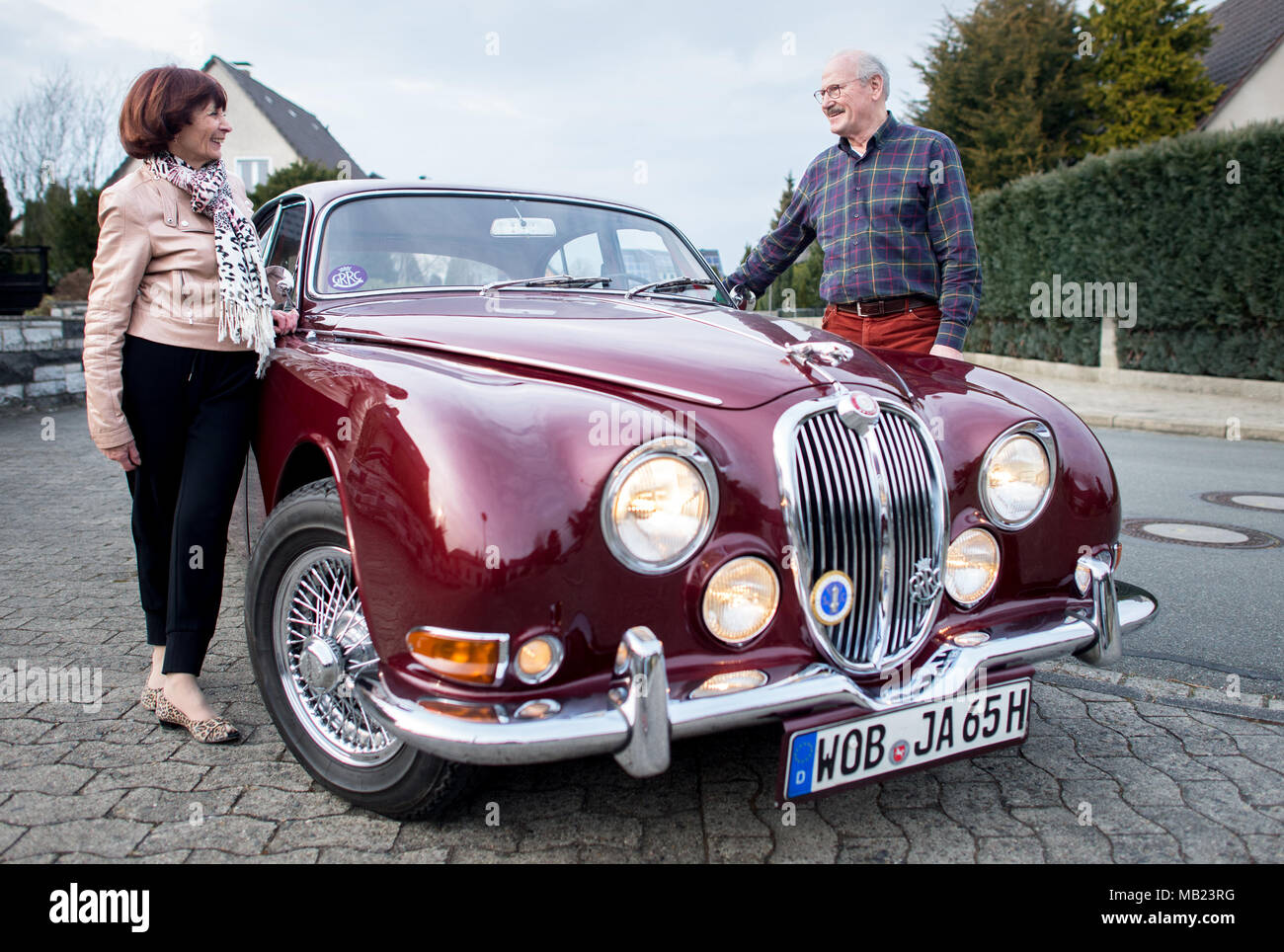27 March 2018, Germany, Wolfsburg: Vintage car collector Horst F ...