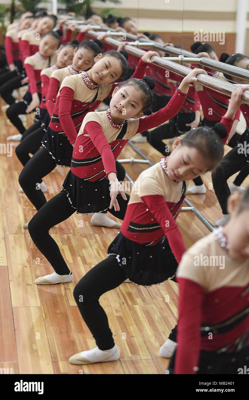 Pyeongyang, NORTH KOREA. 21st Apr, 2016. March 3, 2018-Pyeongyang, North Korea-North Korean students at Mankyeongdae Boys ' Palace are taking gymnastics classes. The date approaches, for better or worse. On April 27, the leaders from the two Koreas, technically still at war, will hold a summit at the border. The parties met today to work out security details. To hold talks with South Korean president Moon Jae-in, the leader of North Korea, Kim Jong-un, will take unprecedented steps for a man in his position literally. The summit will be held south of the military demarcation line in the truc Stock Photo