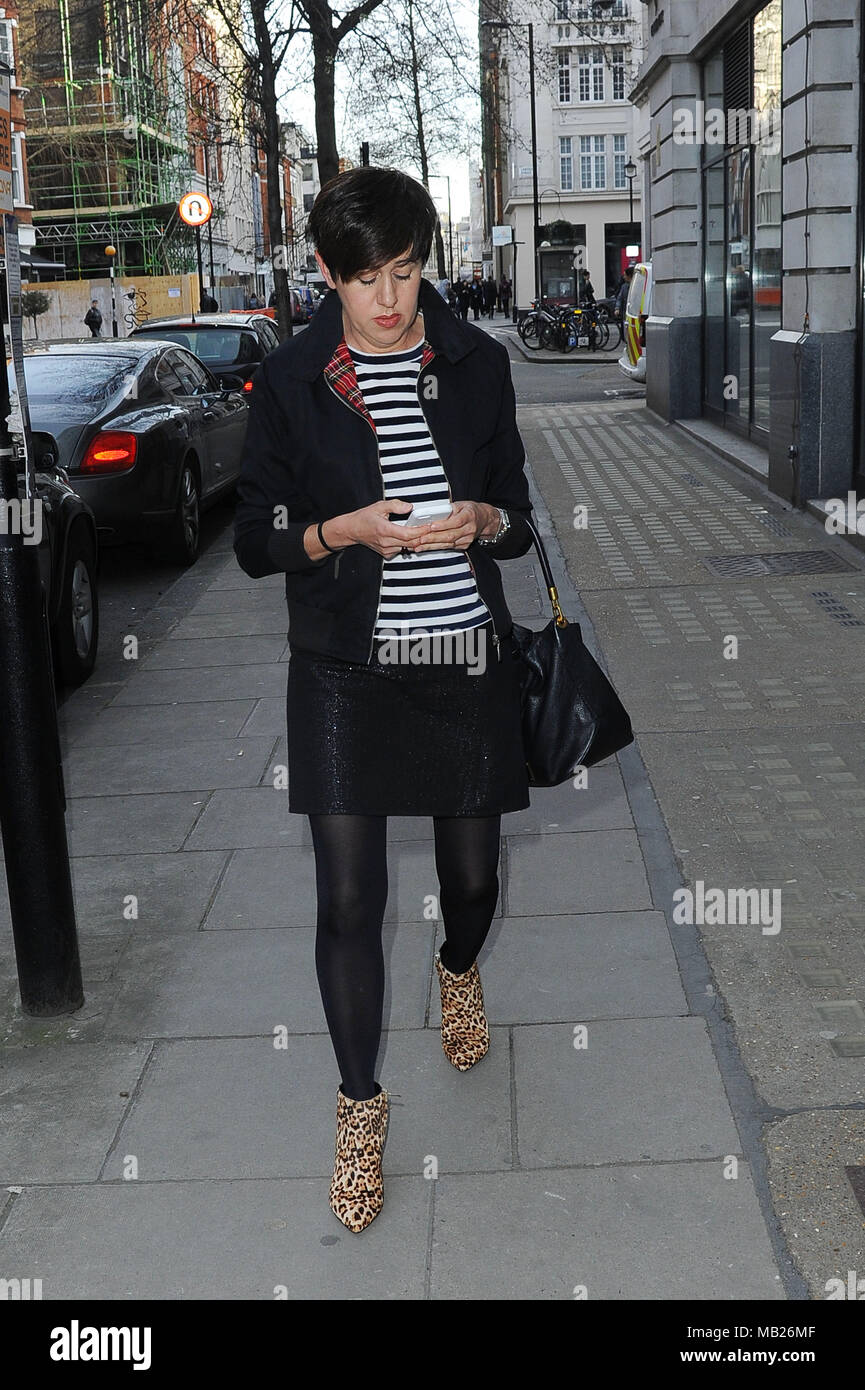 London, UK. 5th April, 2018. Tracey Thorn Seen at The BBC Headquarter. Former 'Everything But The Girl' band member seen leaving the BBC Studio. Credit: Lone Wolf/Alamy Live News - Stock Image
