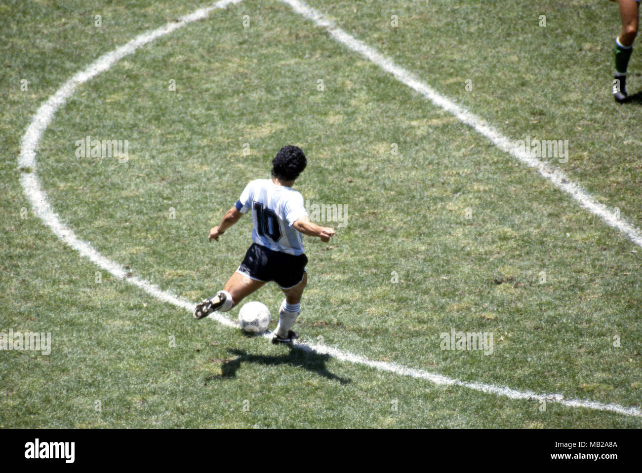 FIFA World Cup - Mexico 1986 29.6.1986, Estadio Azteca, Mexico, D.F. Final Argentina v West Germany. Number 10 Diego Maradona (Argentina) with the ball on his left foot. - Stock Image