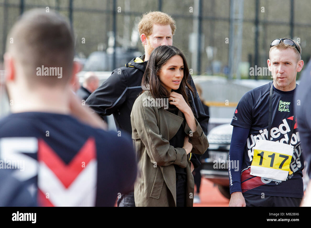Bath, UK. 6th April, 2018. Prince Harry and Meghan Markle are pictured as they talk to Athlete's at the University of Bath Sports Training Village during his visit to the UK team trials for the 2018 Invictus Games. The games are a sporting event for injured active duty and veteran service members, 500 competitors from 18 nations will compete in 11 adaptive sports in this year's Invictus Games which will be held in Sydney, Australia in October 2018. Credit: lynchpics/Alamy Live News Stock Photo