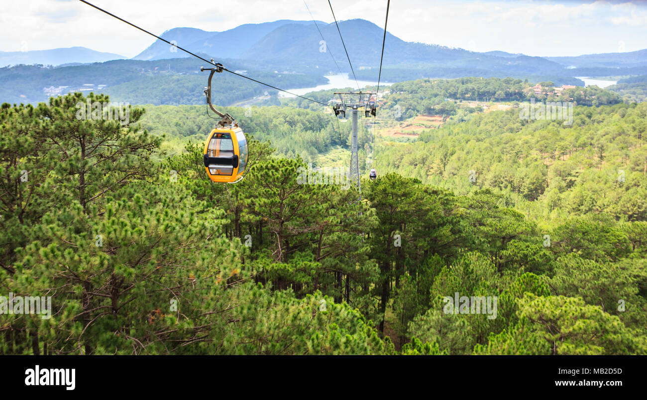 Landscape view from Dalat Cable Car, en route from Robin Hill to Truc Lam Monastery (Chua Truc Lam), at Robin Hill, Dalat, Vietnam. One of the most fa - Stock Image