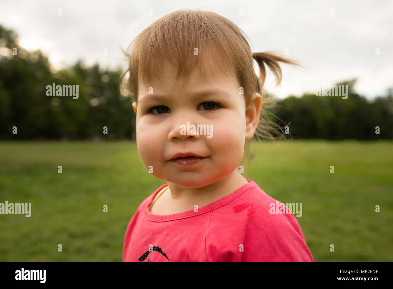 Cute Little toddler girl in pink dress playing in park in front of green grass - Stock Image