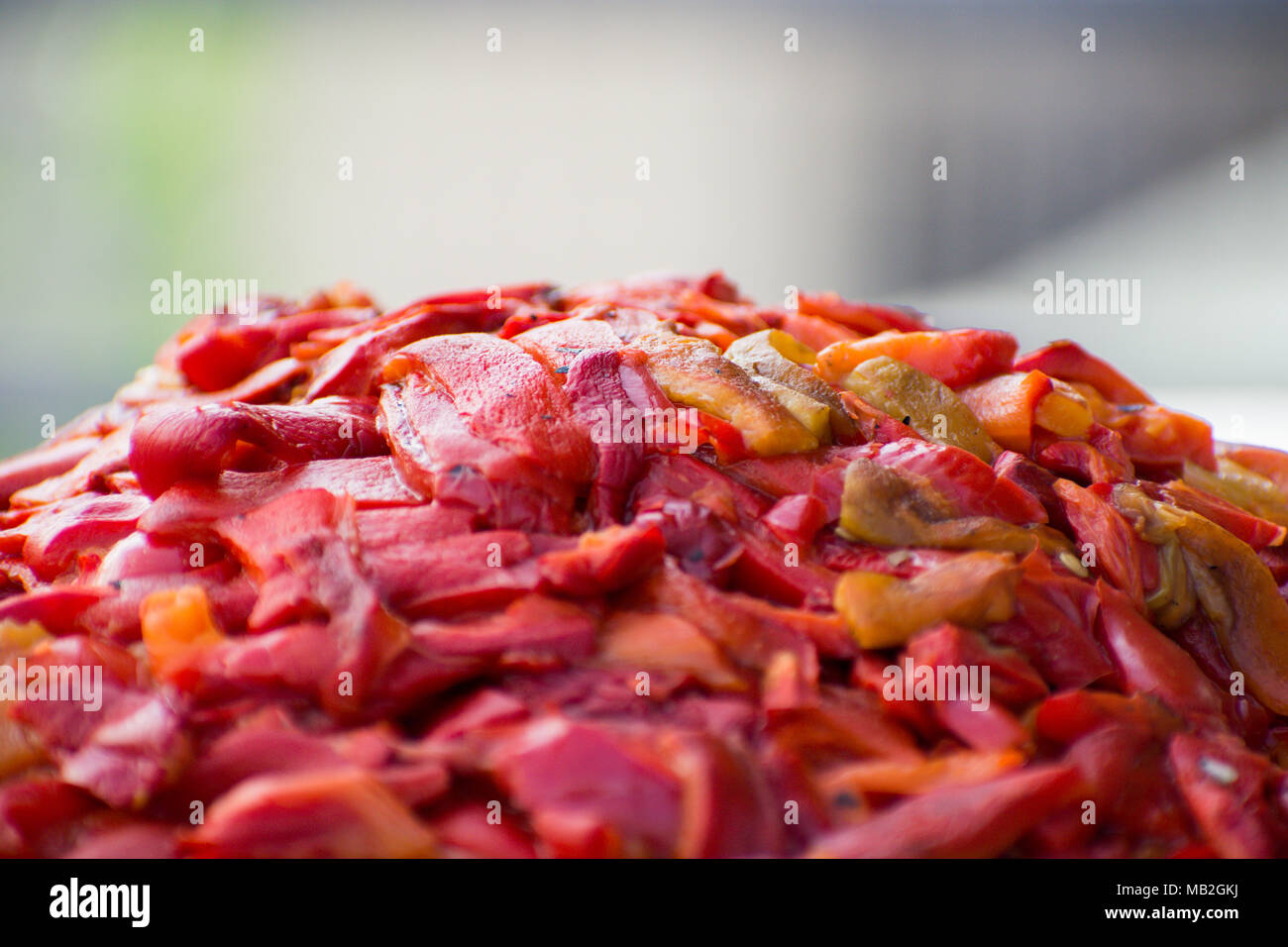 Cutted paprika for preparation of traditional slavic like ajvar and pindjur - Stock Image