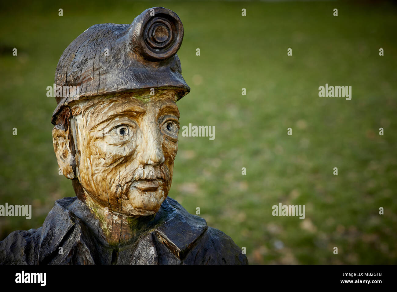 Mining history Mosley Common Village near Leigh, chainsaw sculptor Andy Burgess Miner Bust Sculpture from diseased tree the village green Greater Manc - Stock Image
