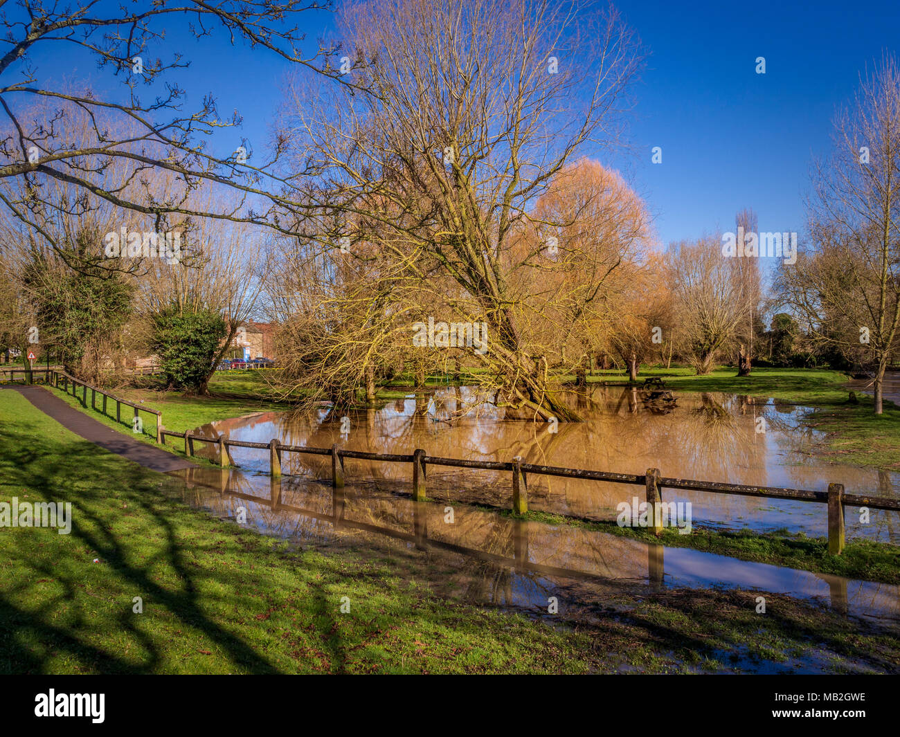 Flooded park land due to High water level at Cod Beck, Thirsk, North Yorkshire, UK. Stock Photo