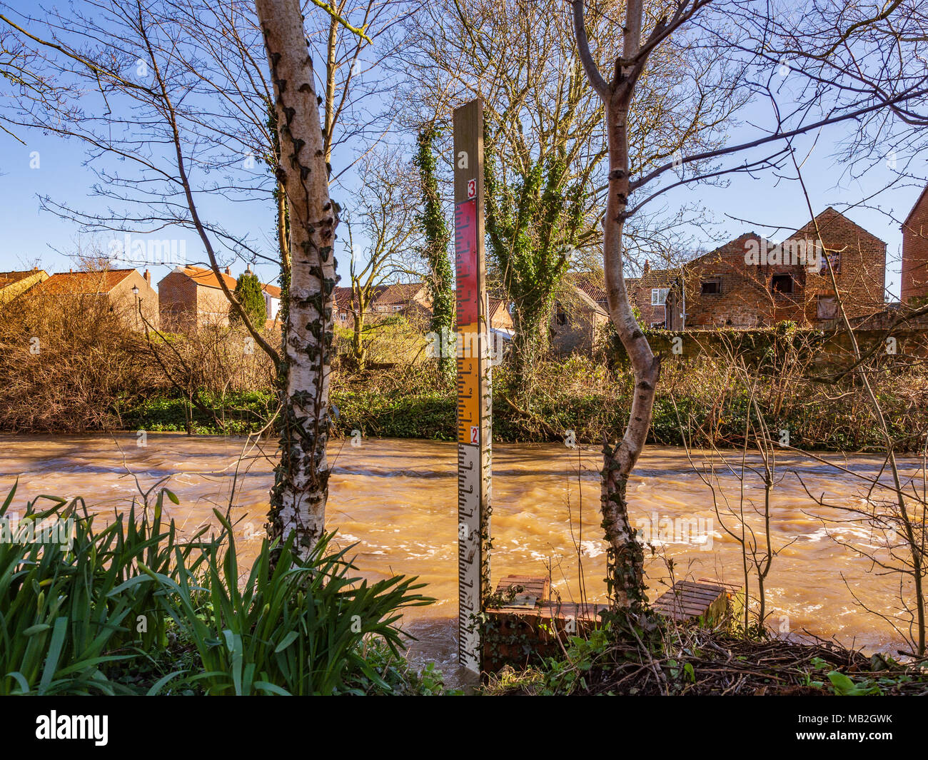Water level indicator and High water level at Cod Beck, Thirsk, North Yorkshire, UK. - Stock Image