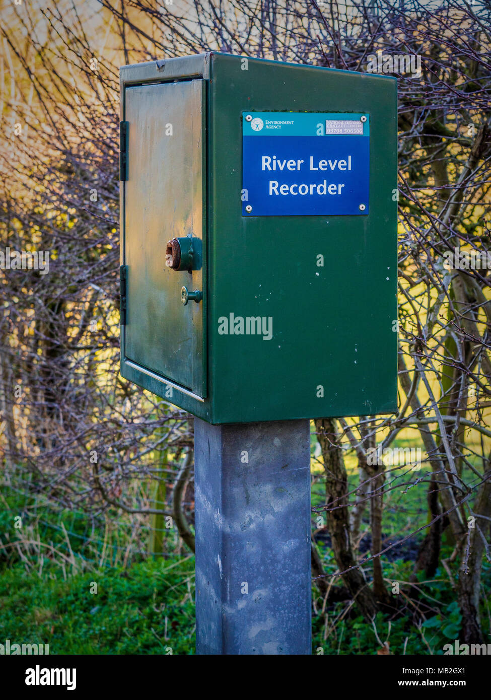 Environment Agency River Level Recorder at Cod Beck, Thirsk, North Yorkshire, UK. - Stock Image