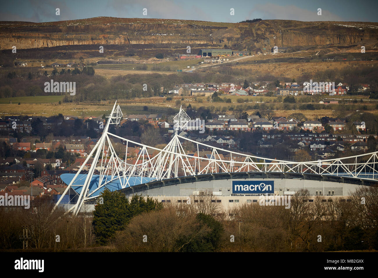 BWFC - Exterior of Bolton Wanderers FC Macron Stadium with Winter Hill behind - Stock Image