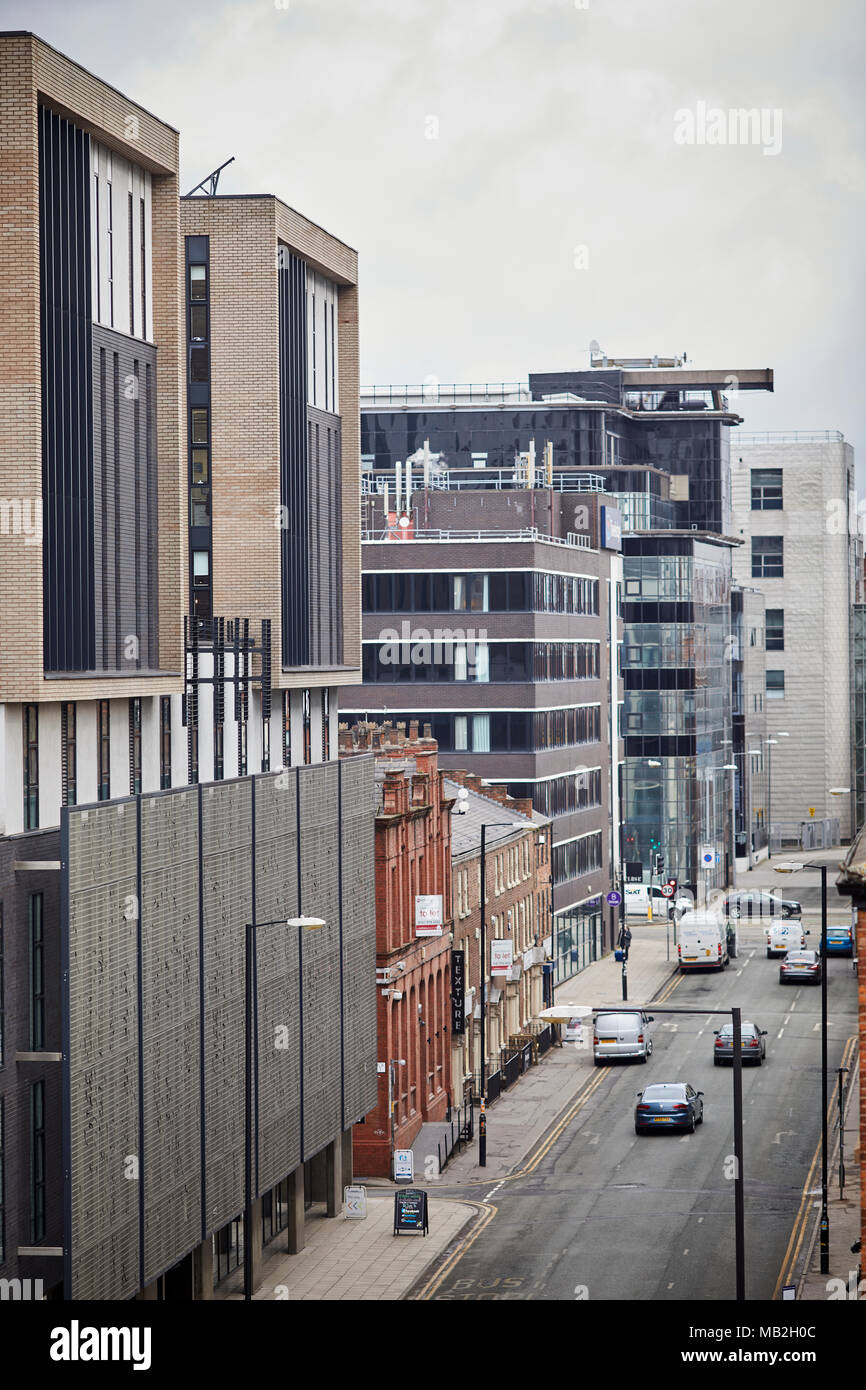 Manchester offices in the Northern Quarter looking up Lever Street - Stock Image