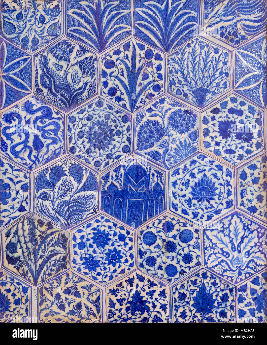 Ottoman era style glazed ceramic tiles decorated with floral ...