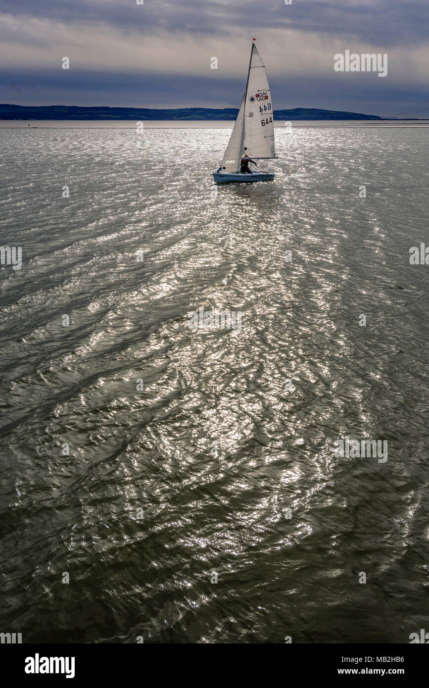Dinghy sailing in evening light at West Kirby marine lake. - Stock Image