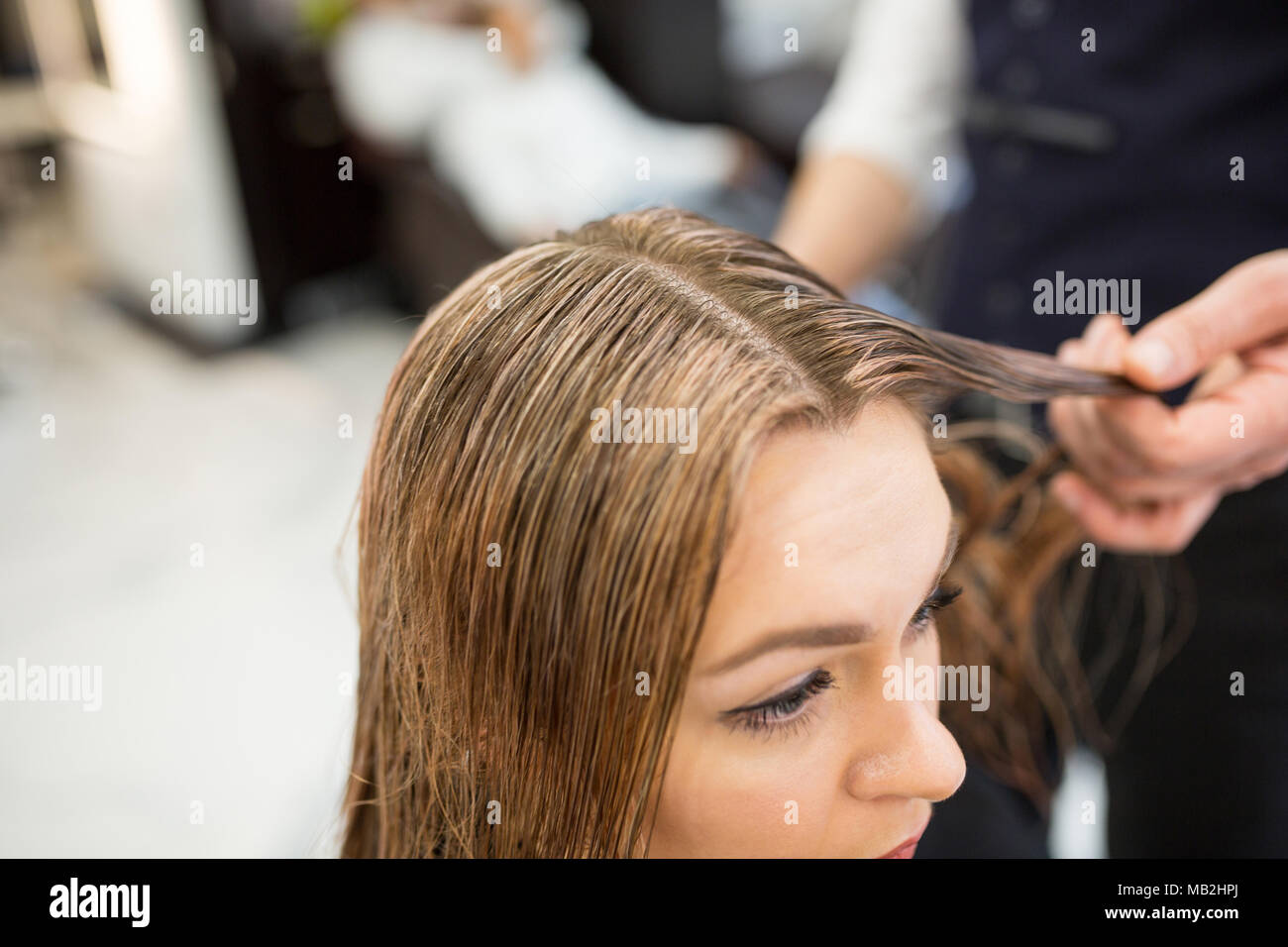 Cropped portrait of hairdresser holding client hair strand - Stock Image